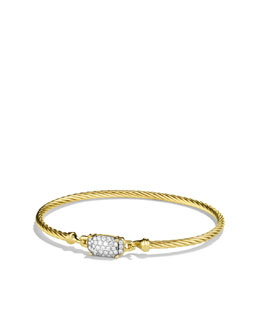 David Yurman Petite Wheaton Bracelet with Diamonds in Gold