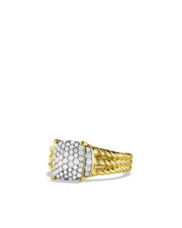 David Yurman Petite Wheaton Ring with Diamonds in Gold