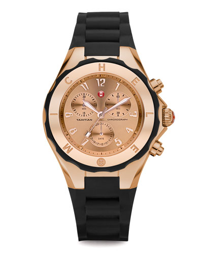 MICHELE Rose Gold Tahitian Large Jelly Bean Chronograph, Black