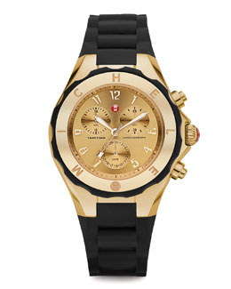 MICHELE Gold Tahitian Large Jelly Bean Chronograph, Black