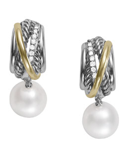 David Yurman Pearl Crossover Earrings