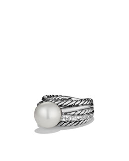 David Yurman Pearl Crossover Wide Ring with Diamonds