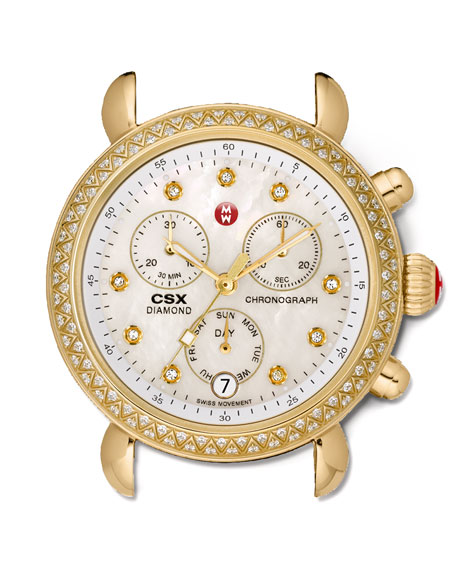 18mm CSX Diamond Watch Head, Gold
