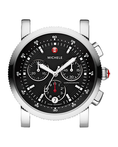 MICHELE Sport Sail Stainless Watch Head, Black