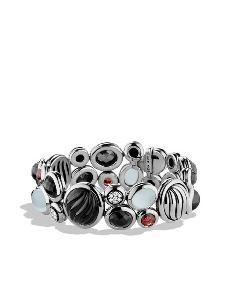 Mosaic Narrow Bracelet with Black Onyx, Garnet, and Diamonds