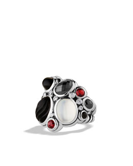 David Yurman Mosaic Ring with Black Onyx, Moon Quartz, and Diamonds