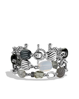 David Yurman DY Elements Three-Row Bracelet with Black Onyx and Hematine