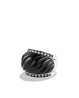 David Yurman Sculpted Cable Wide Ring with Black Onyx and Diamonds