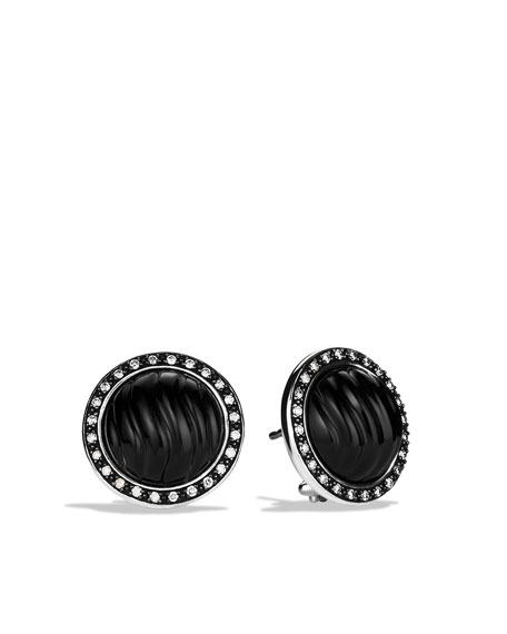 Sculpted Cable Earrings with Black Onyx and Diamonds