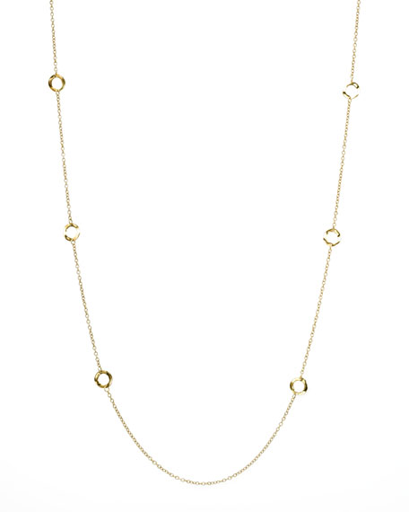 "Gold Circle-Station Necklace, 40""L"