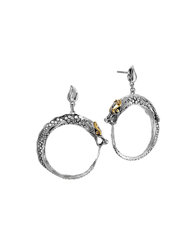 Naga Gld Slvr Dragon Earring