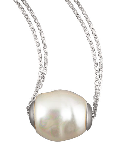 Majorica Baroque Pearl Pendant Necklace, White