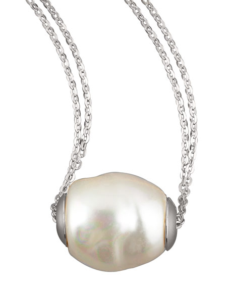 MajoricaBaroque Pearl Pendant Necklace, White
