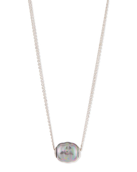 Majorica Baroque Pearl Pendant Necklace, Gray