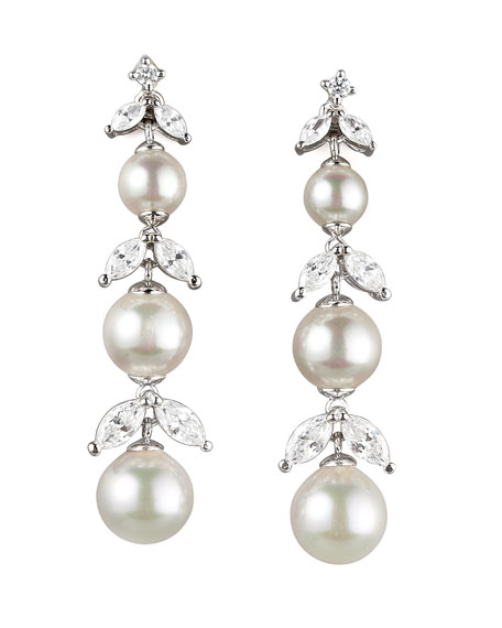 Pearl & Cubic Zirconia Drop Earrings