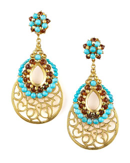 Jose & Maria Barrera Gold Scrollwork Earrings