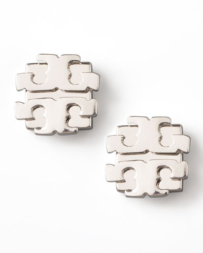 Tory Burch Silver Logo Earrings, Large