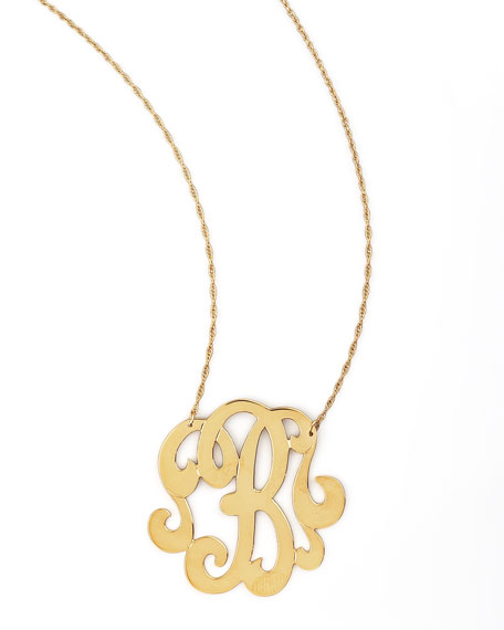 Swirly Initial Necklace, B