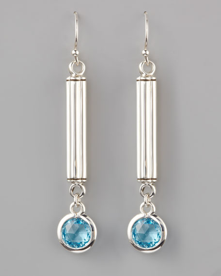 Long Bar-Drop Earrings, Blue Topaz