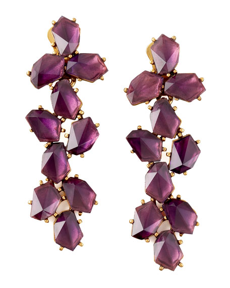 Oscar de la Renta Clustered Crystal Drop Earrings, Purple