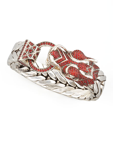 Naga Dragon Head Bracelet, Red Sapphire