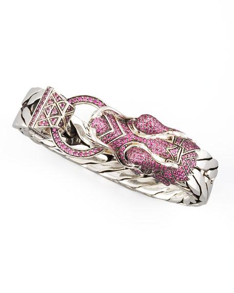 Naga Dragon Head Bracelet, Pink Sapphire
