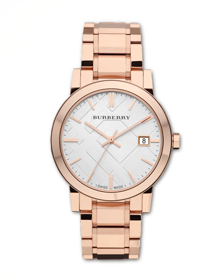 Check Sunray Watch, Rose Golden