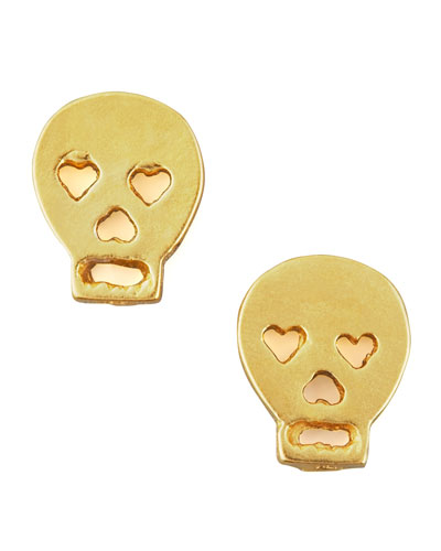 Dogeared Gold Skull Earrings