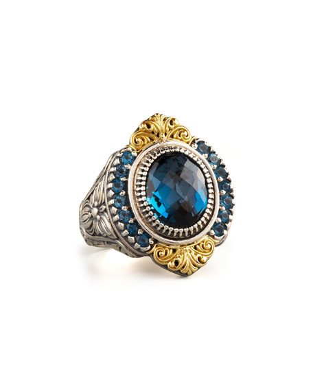 Konstantino Pave London Blue Topaz Ring