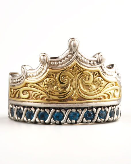 London Blue Topaz Crown Ring