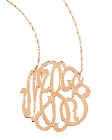 Jennifer zeuner rose gold initial necklace for Rose gold personalized jewelry