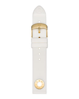 MICHELE 18mm Golden & Silicone Strap, White