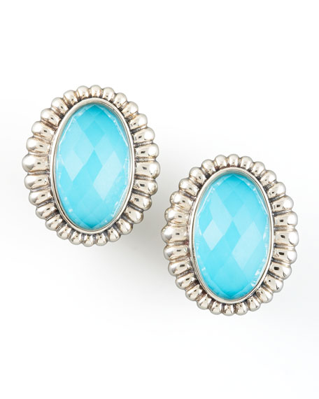 Venus Fluted Earrings, Turquoise
