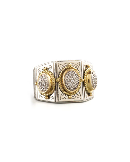 Konstantino Three-Stone Pave Ring