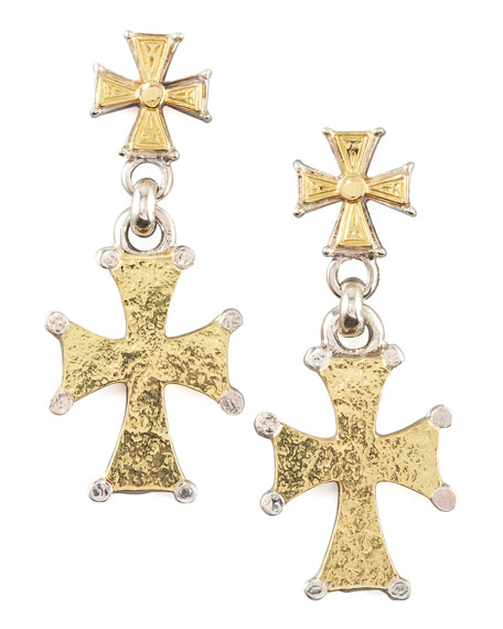 Mixed Metal Cross Earrings