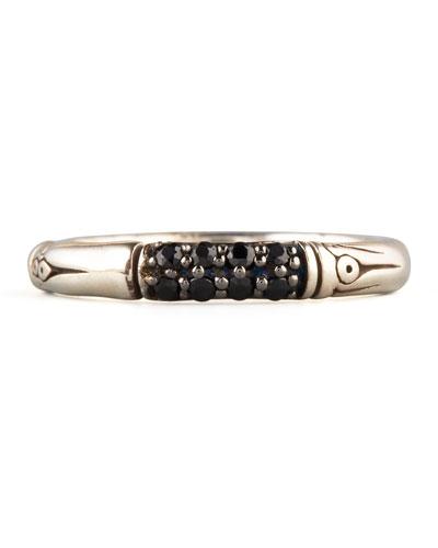 John Hardy Slim Black Sapphire Bamboo Ring