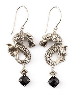 John Hardy Naga Batu Drop Earrings, Black Chalcedony