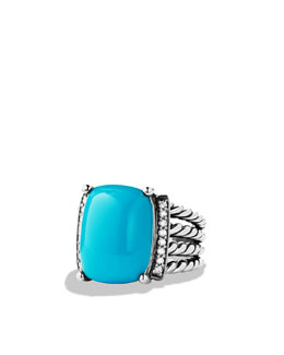 David Yurman Wheaton Ring with Turquoise and Diamonds