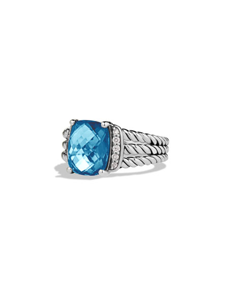 Petite Wheaton Ring with Hampton Blue Topaz and Diamonds