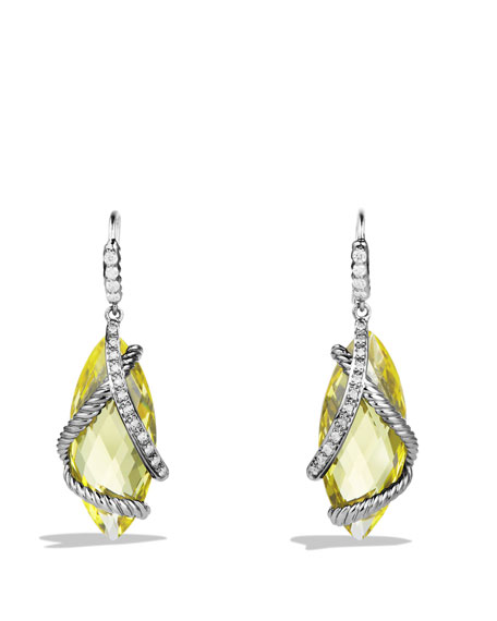 Cable Wrap Drop Earrings with Lemon Citrine and Diamonds