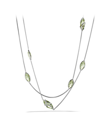 Cable Wrap Necklace, Prasiolite