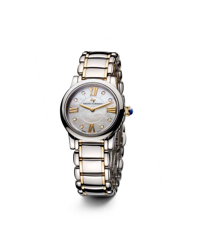 David Yurman Classic 30mm Quartz, Steel and 18K Gold