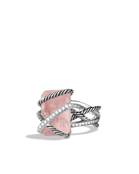 Cable Wrap Ring, Rose Quartz