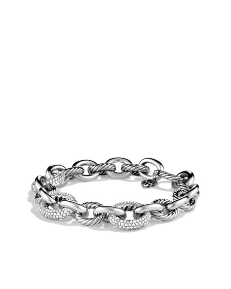 Oval Large Link Bracelet with Diamonds