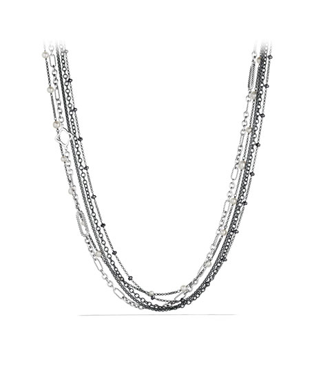 Multi-Row Chain Necklace with Pearls