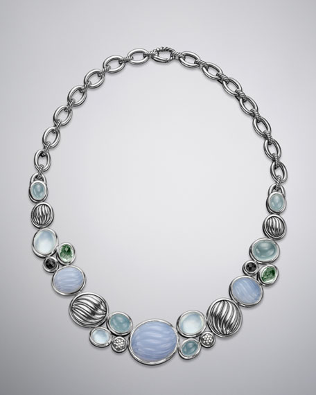 Mosaic Necklace, Blue Chalcedony
