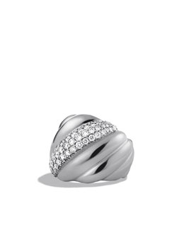 David Yurman Sculpted Cable Wide Ring with Diamonds
