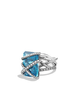 David Yurman Cable Wrap Ring with Hampton Blue Topaz and Diamonds