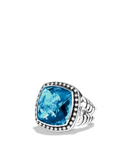 David Yurman Albion Ring with Hampton Blue Topaz and Diamonds