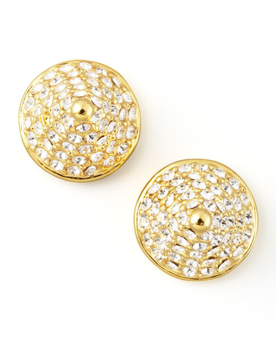 Eddie Borgo Pave Crystal Cone-Stud Earrings, Yellow Gold